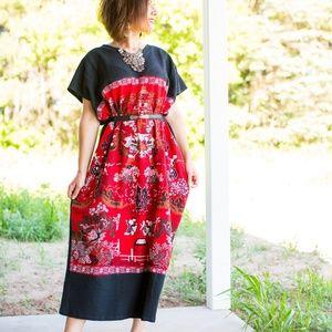 Dresses & Skirts - Historic Art Print Maxi Dress in Red Black & White